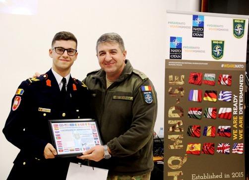 """Elev caporal Laurențiu Stănescu, unul dintre câștigătorii concursului """"Pentru mine #NATO înseamnă..."""""""